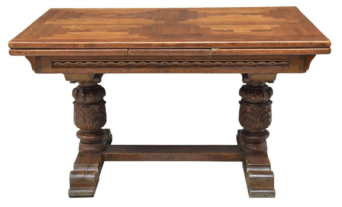 FRENCH JACOBIAN HEAVILY CARVED OAK DINING TABLE - 3