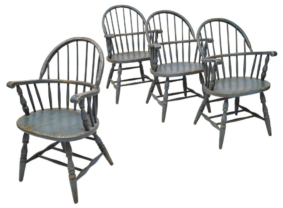 (4) PAINTED WINDSOR HOOP-BACK ARMCHAIRS