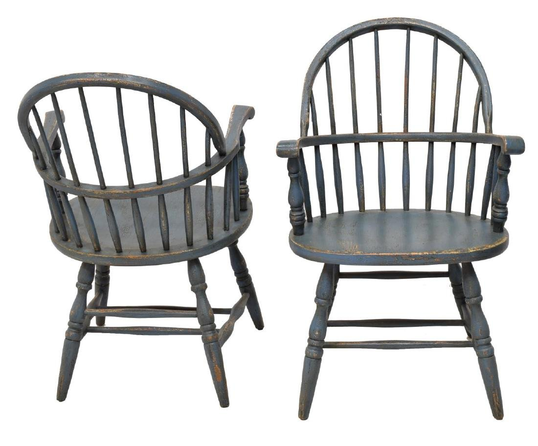 (4) PAINTED WINDSOR HOOP-BACK ARMCHAIRS - 2