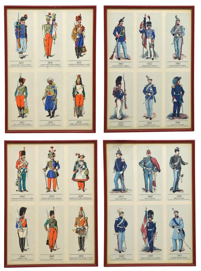 (4) FRAMED PRINTS OF 19TH C. MILITARY UNIFORMS