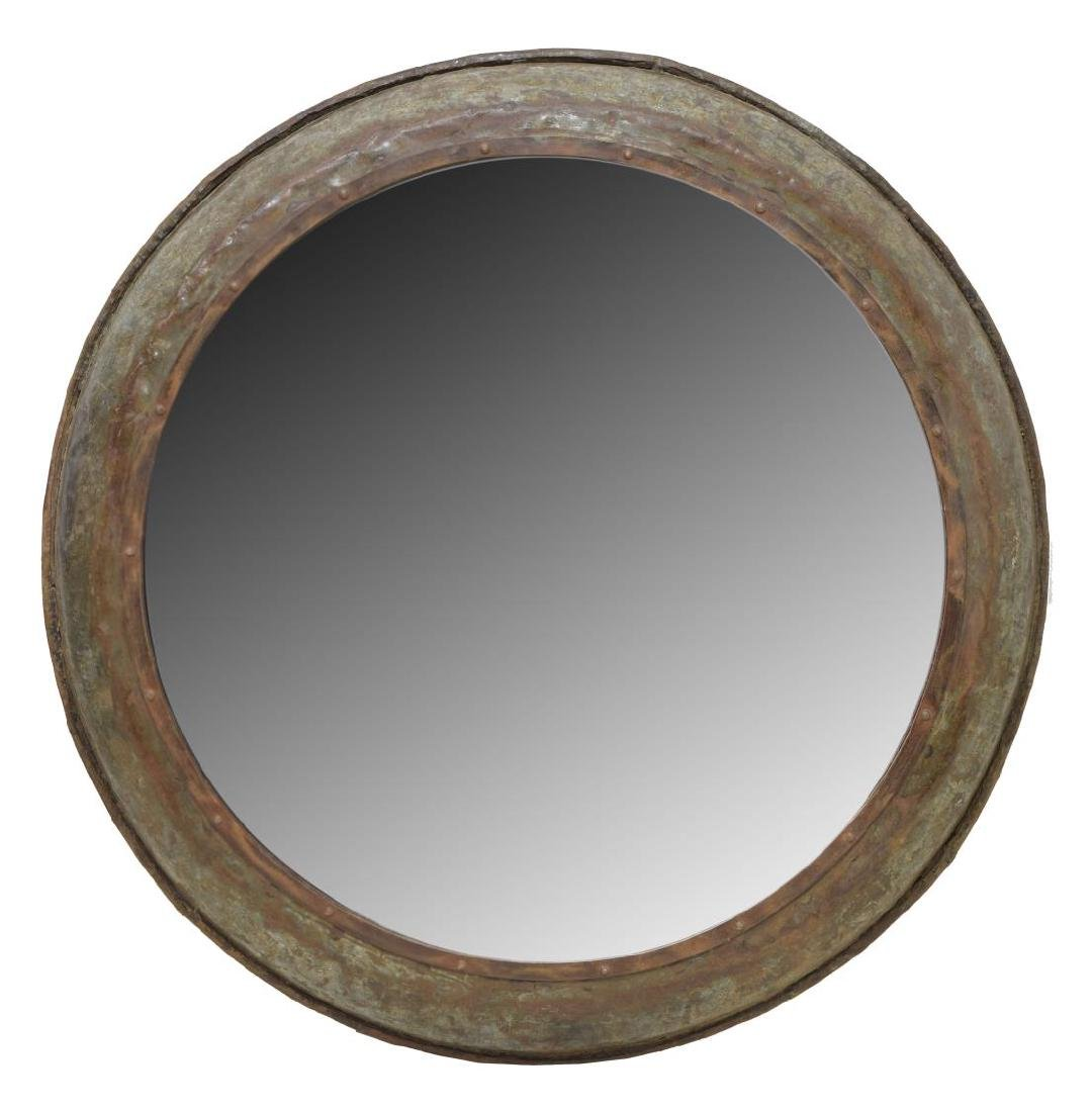 LARGE INDUSTRIAL IRON FRAMED CIRCULAR WALL MIRROR