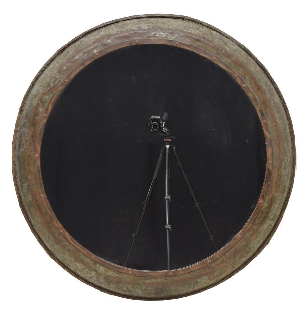 LARGE INDUSTRIAL IRON FRAMED CIRCULAR WALL MIRROR - 2