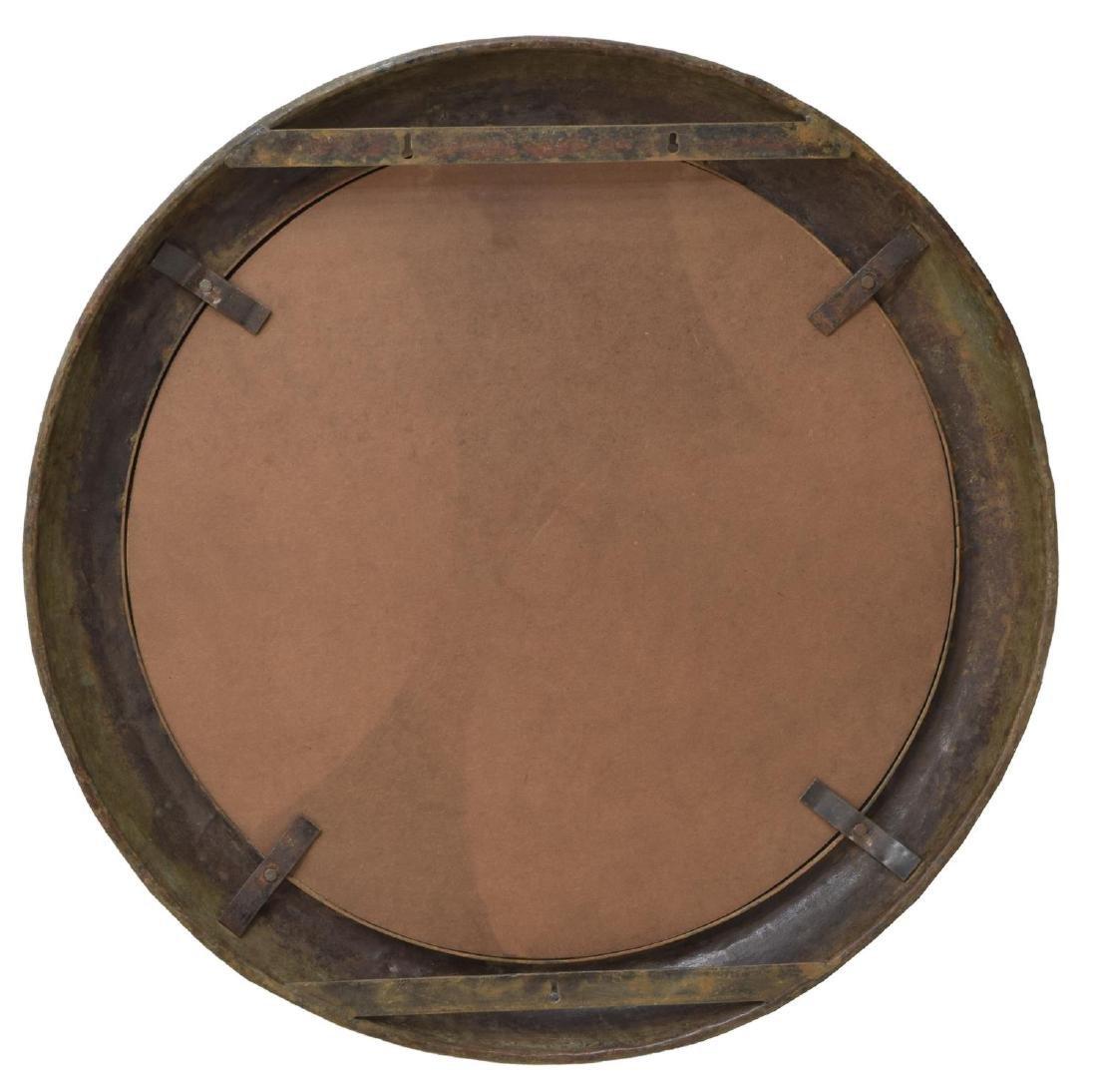 LARGE INDUSTRIAL IRON FRAMED CIRCULAR WALL MIRROR - 3