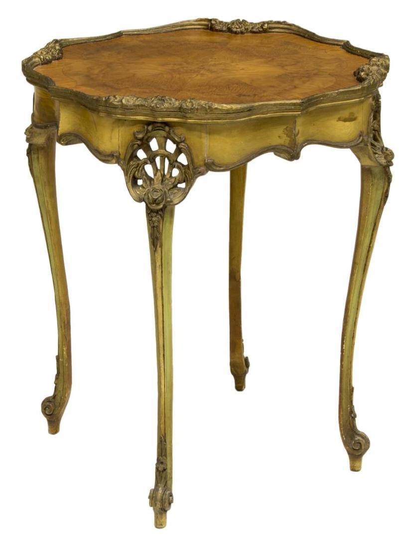 LOUIS XV STYLE GILT & BURLWOOD PARLOR TABLE