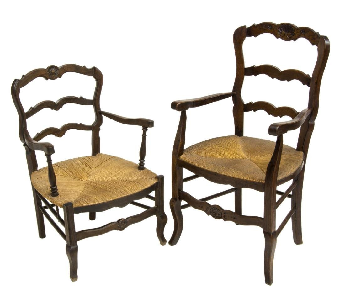 (2) FRENCH LOUIS XV STYLE OAK HIS & HERS ARMCHAIRS