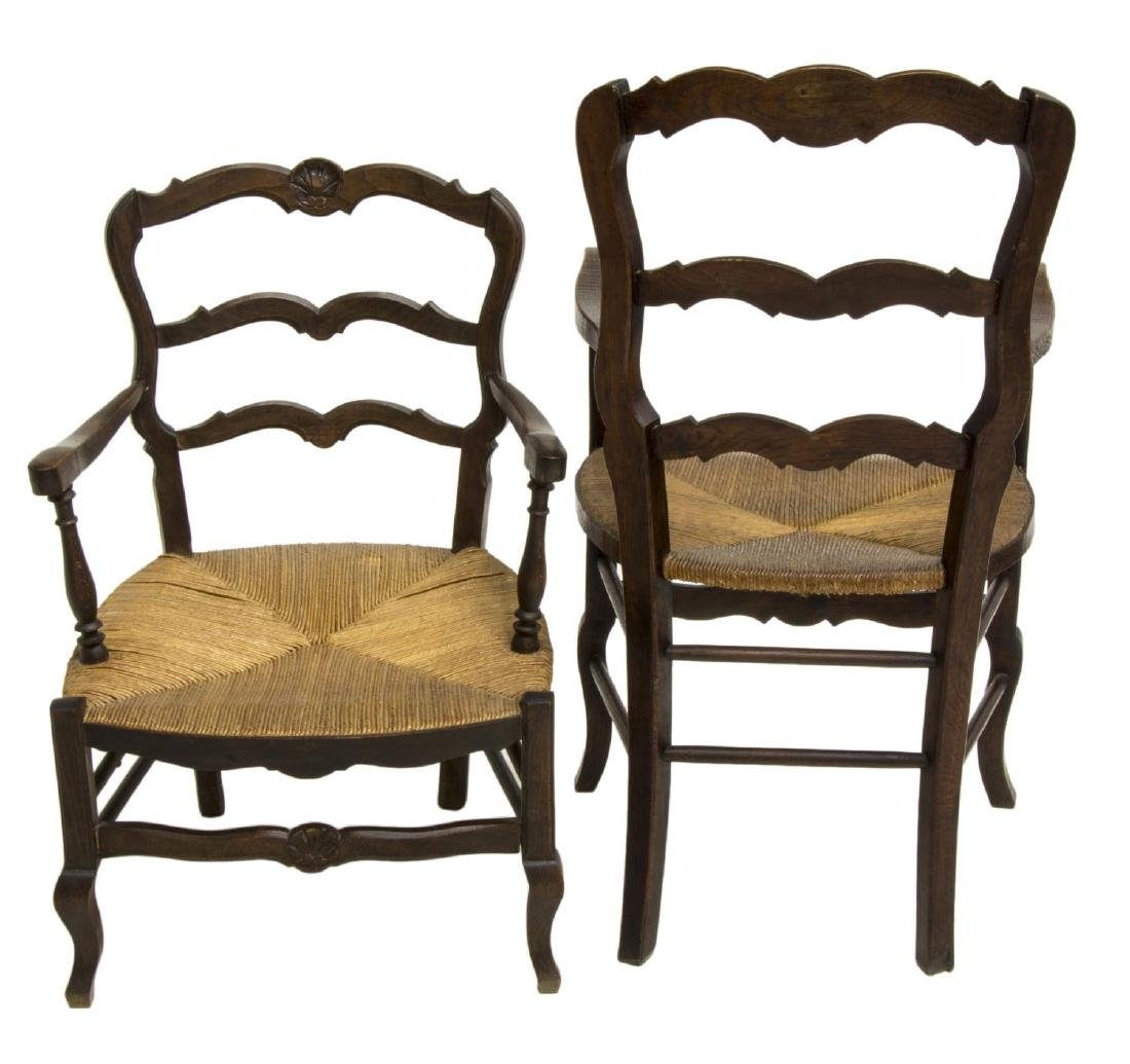 (2) FRENCH LOUIS XV STYLE OAK HIS & HERS ARMCHAIRS - 2