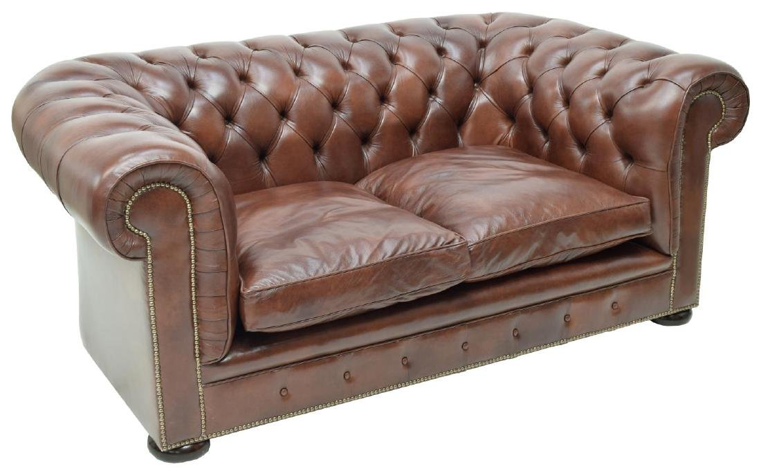 CHESTERFIELD BROWN LEATHER TWO SEAT SOFA