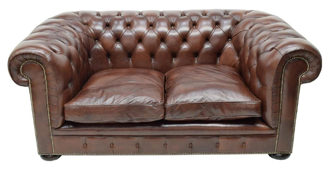 CHESTERFIELD BROWN LEATHER TWO SEAT SOFA - 2