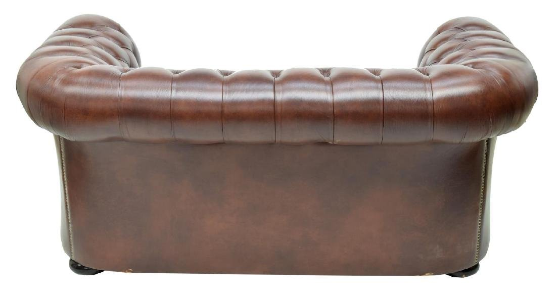 CHESTERFIELD BROWN LEATHER TWO SEAT SOFA - 3