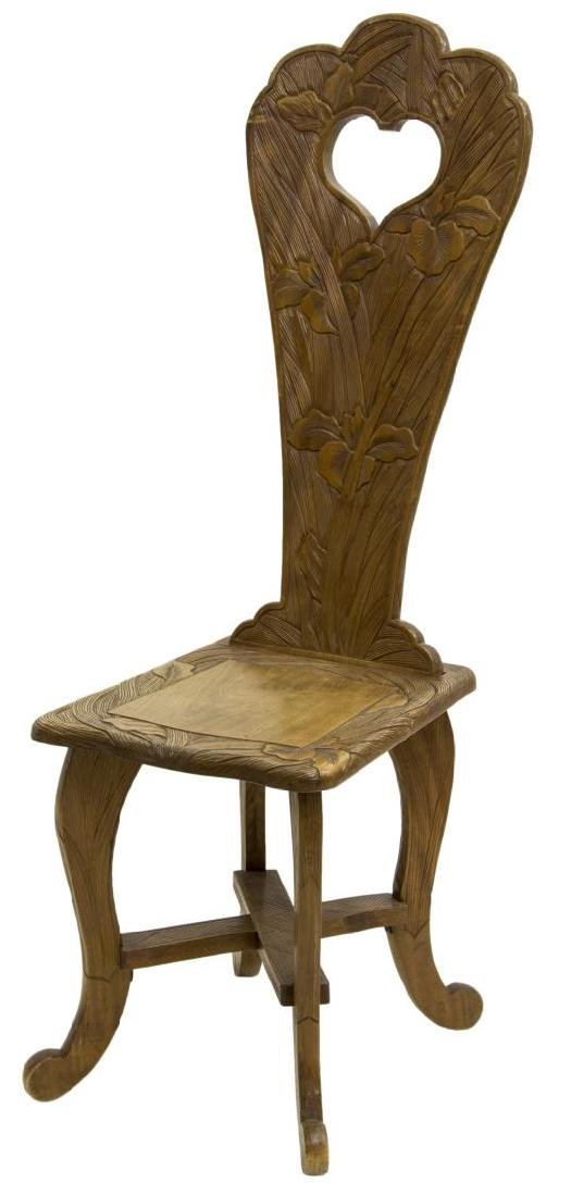 ART NOUVEAU STYLE SIDE CHAIR CARVED WITH IRISES