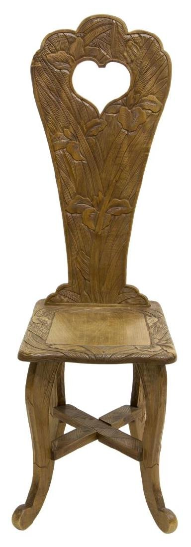 ART NOUVEAU STYLE SIDE CHAIR CARVED WITH IRISES - 2