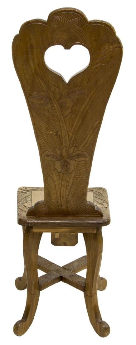 ART NOUVEAU STYLE SIDE CHAIR CARVED WITH IRISES - 4