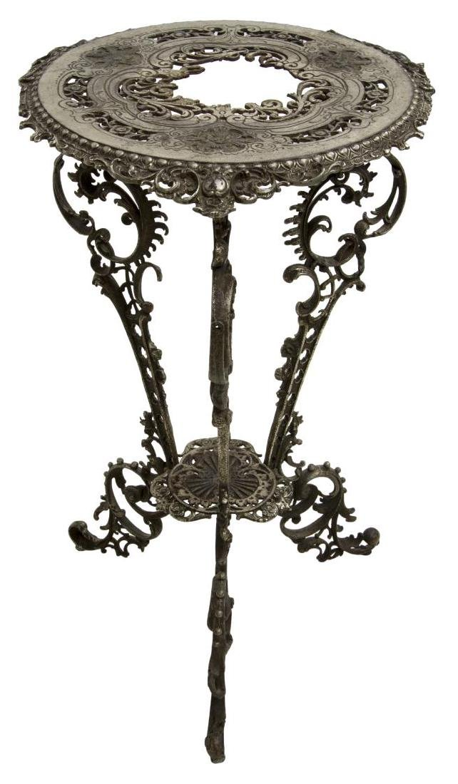 PIERCED SILVER PATINATED IRON SIDE TABLE