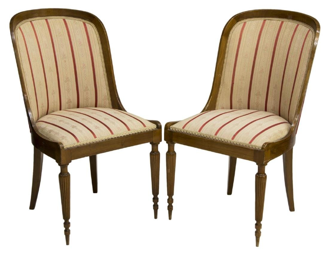 (2) CONTINENTAL WALNUT UPHOLSTERED SIDE CHAIRS