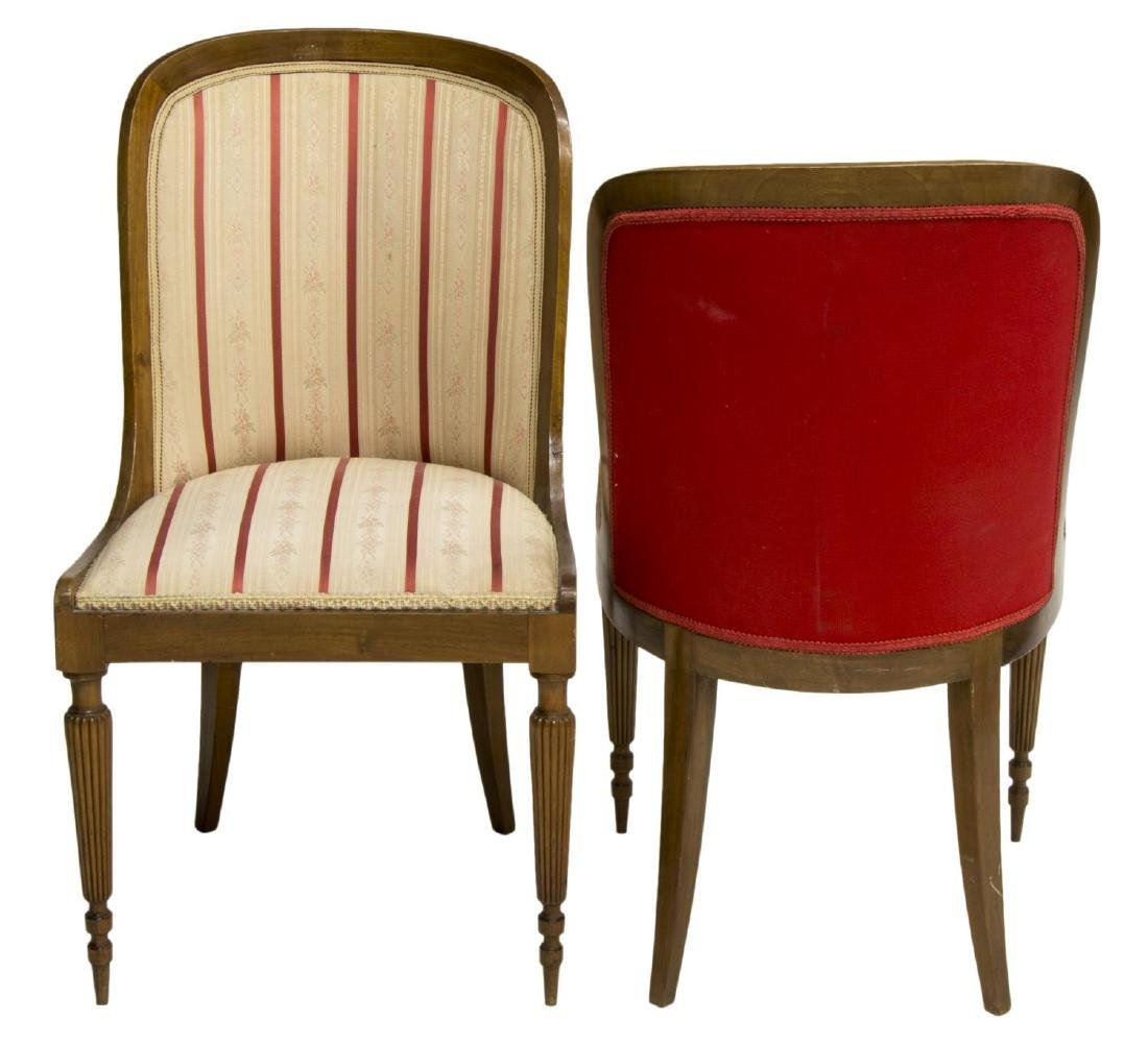 (2) CONTINENTAL WALNUT UPHOLSTERED SIDE CHAIRS - 2