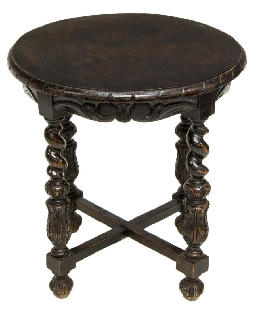 SPANISH CIRCULAR-TOP TABLE ON ORNATE CARVED BASE - 2