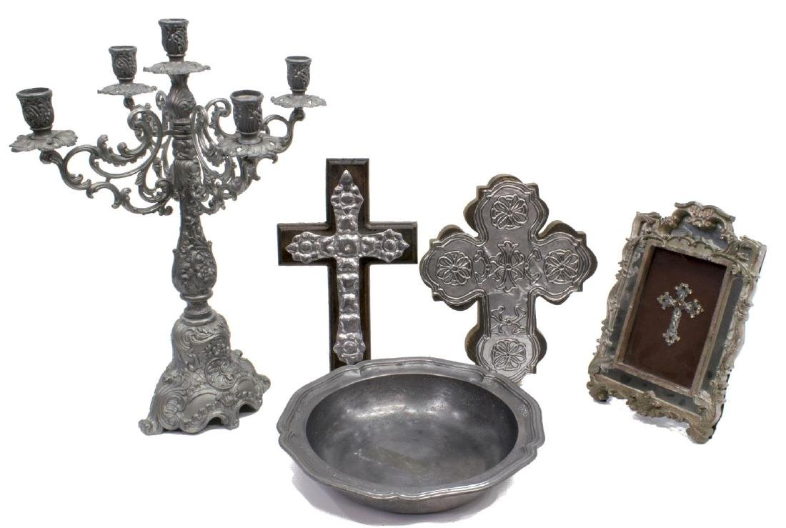 (5) DECORATIVE METALWARE GROUP, PEWTER, CROSSES