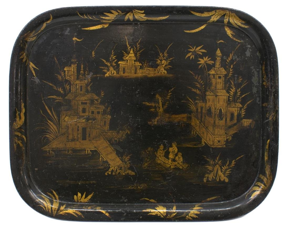 CONTINENTAL TOLE CHINOISERIE METAL SERVING TRAY