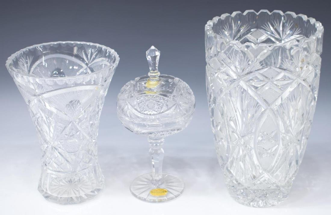 (3) BOHEMIA CUT CRYSTAL COVERED CANDY DISH & VASES