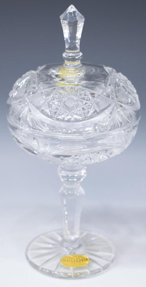 (3) BOHEMIA CUT CRYSTAL COVERED CANDY DISH & VASES - 4