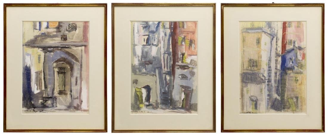 (3) FRAMED MODERN WATERCOLOR & GOUACHE PAINTINGS