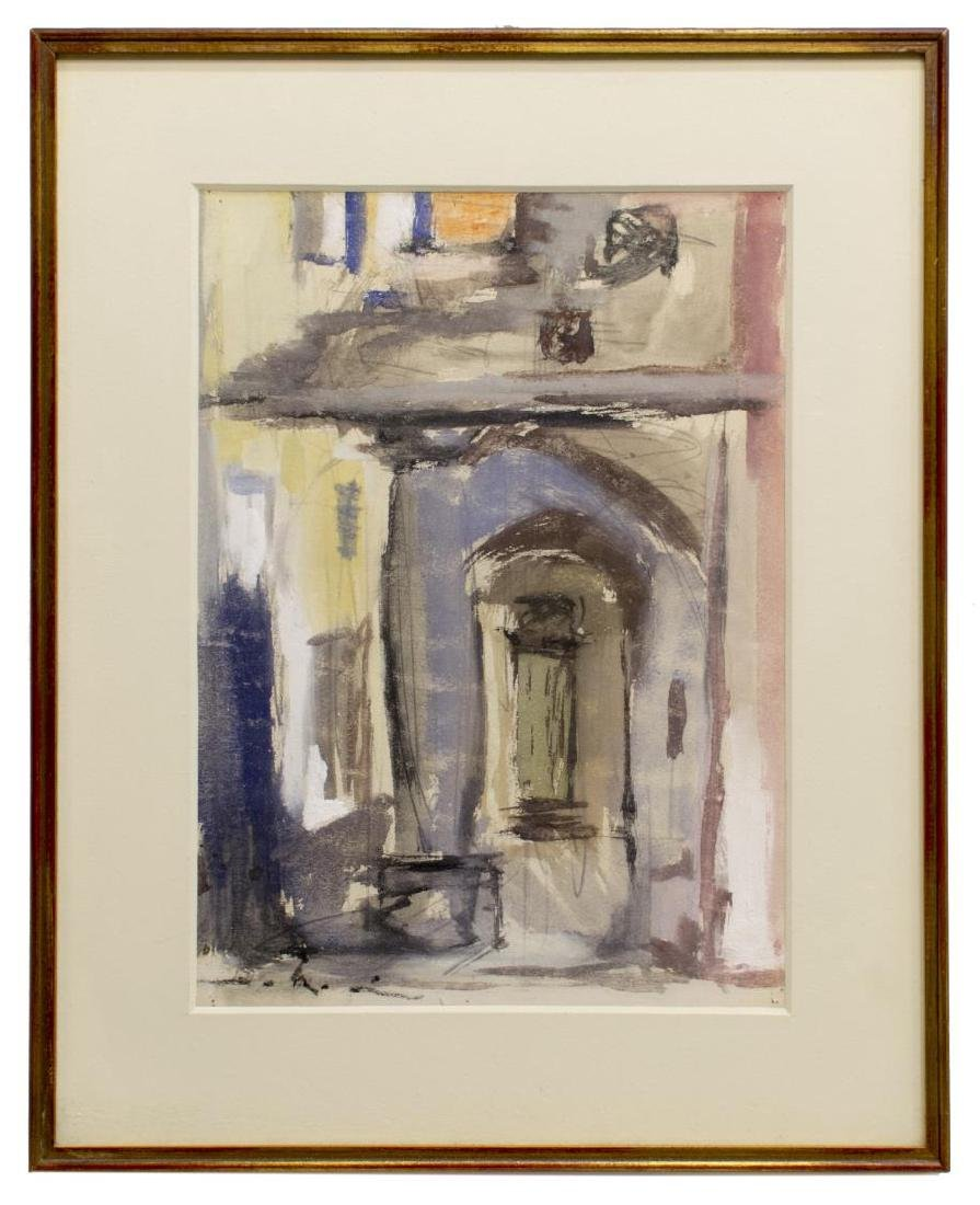 (3) FRAMED MODERN WATERCOLOR & GOUACHE PAINTINGS - 4