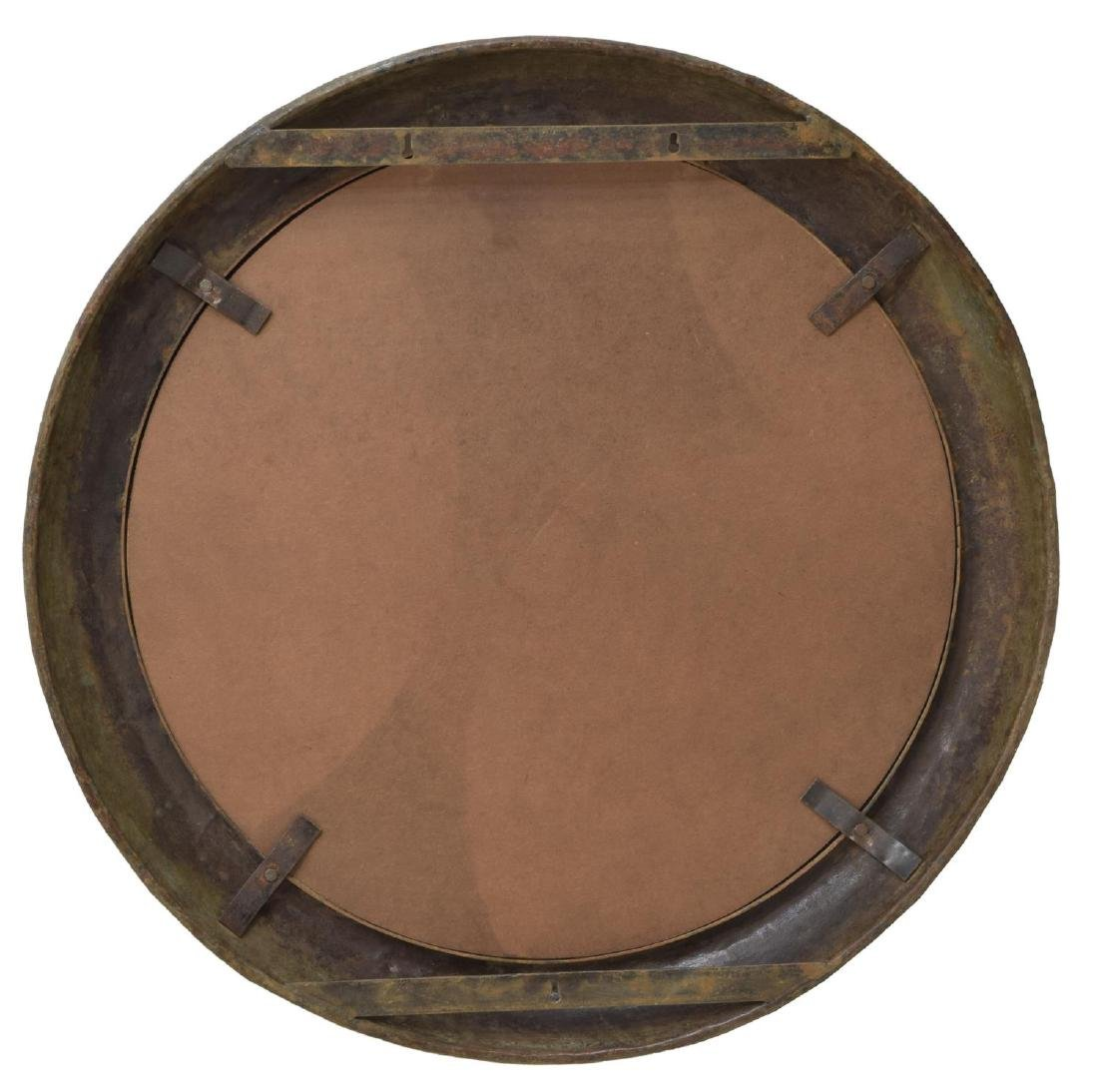 LARGE INDUSTRIAL IRON FRAMED CIRCULAR WALL MIRROR - 3