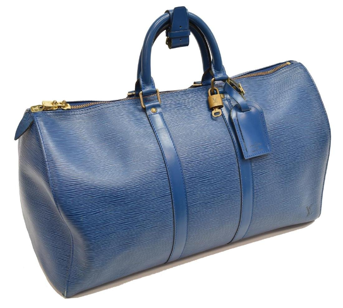 LOUIS VUITTON 'KEEPALL 45' BLUE EPI LEATHER BAG