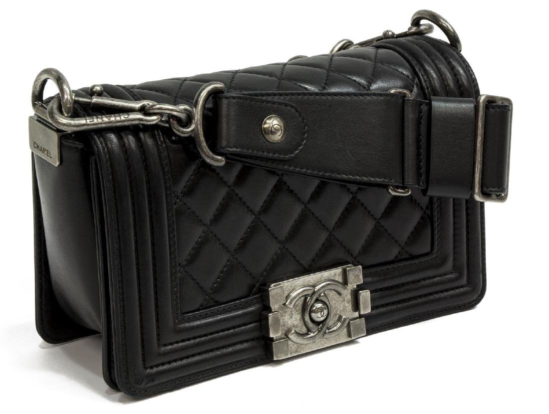 CHANEL STINGRAY-TRIMMED BLACK QUILTED BOY FLAP BAG