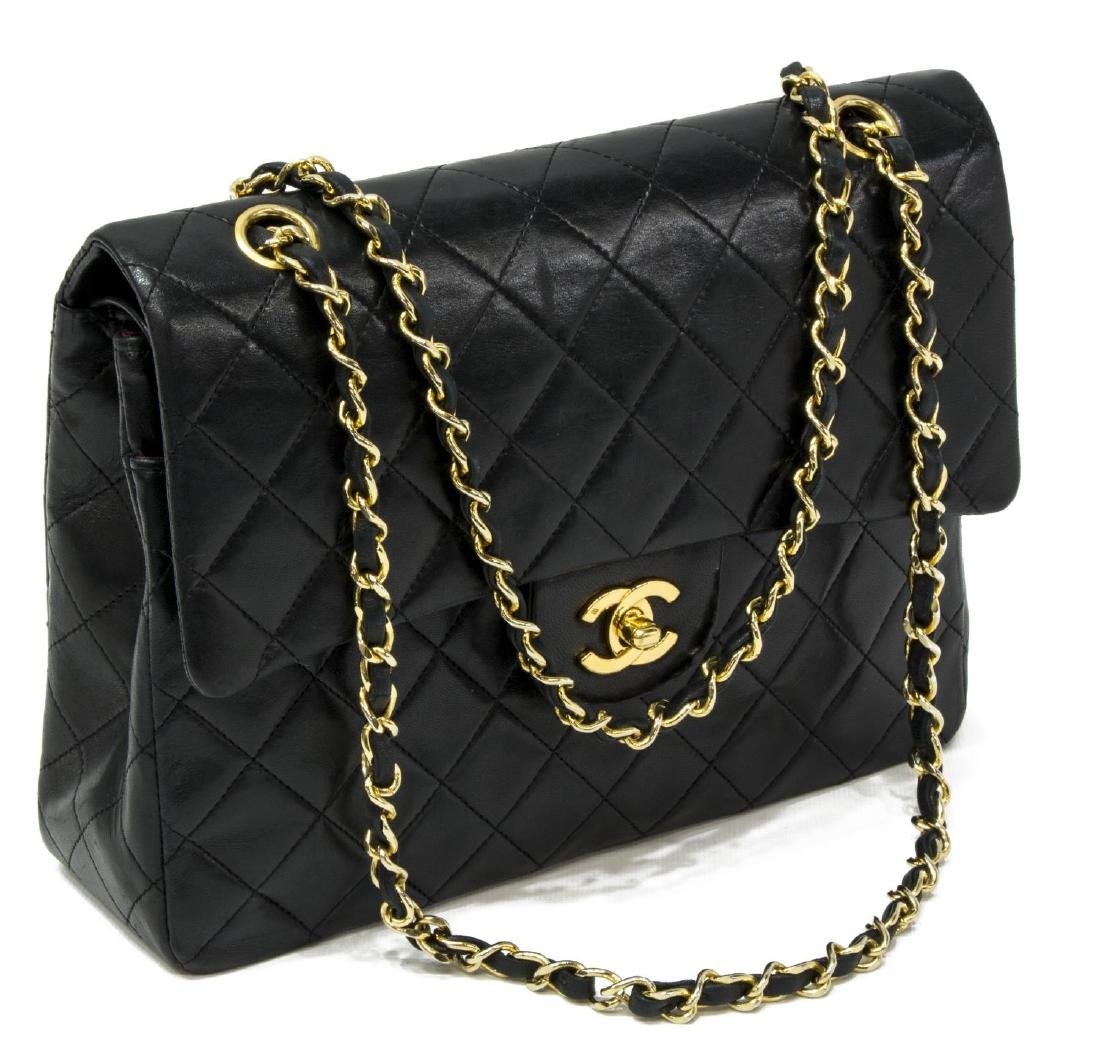 CHANEL CLASSIC BLACK LEATHER TALL DOUBLE FLAP BAG