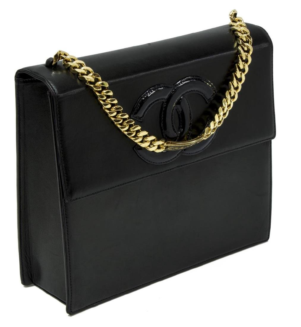 CHANEL SQUARE FLAP BLACK LEATHER LOGO FRONT BAG