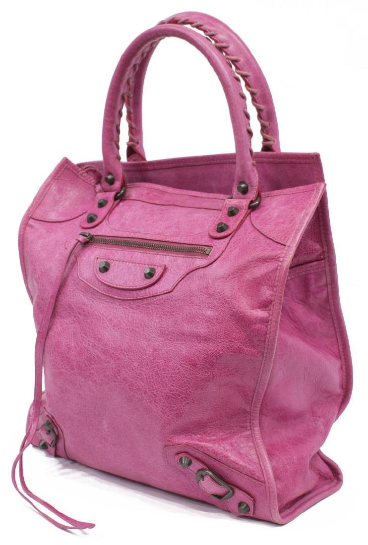BALENCIAGA MOTOCROSS PINK ARENA LEATHER TOTE BAG