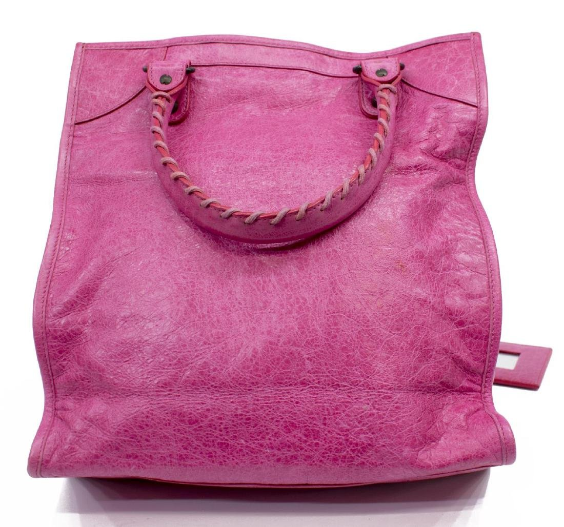 BALENCIAGA MOTOCROSS PINK ARENA LEATHER TOTE BAG - 2