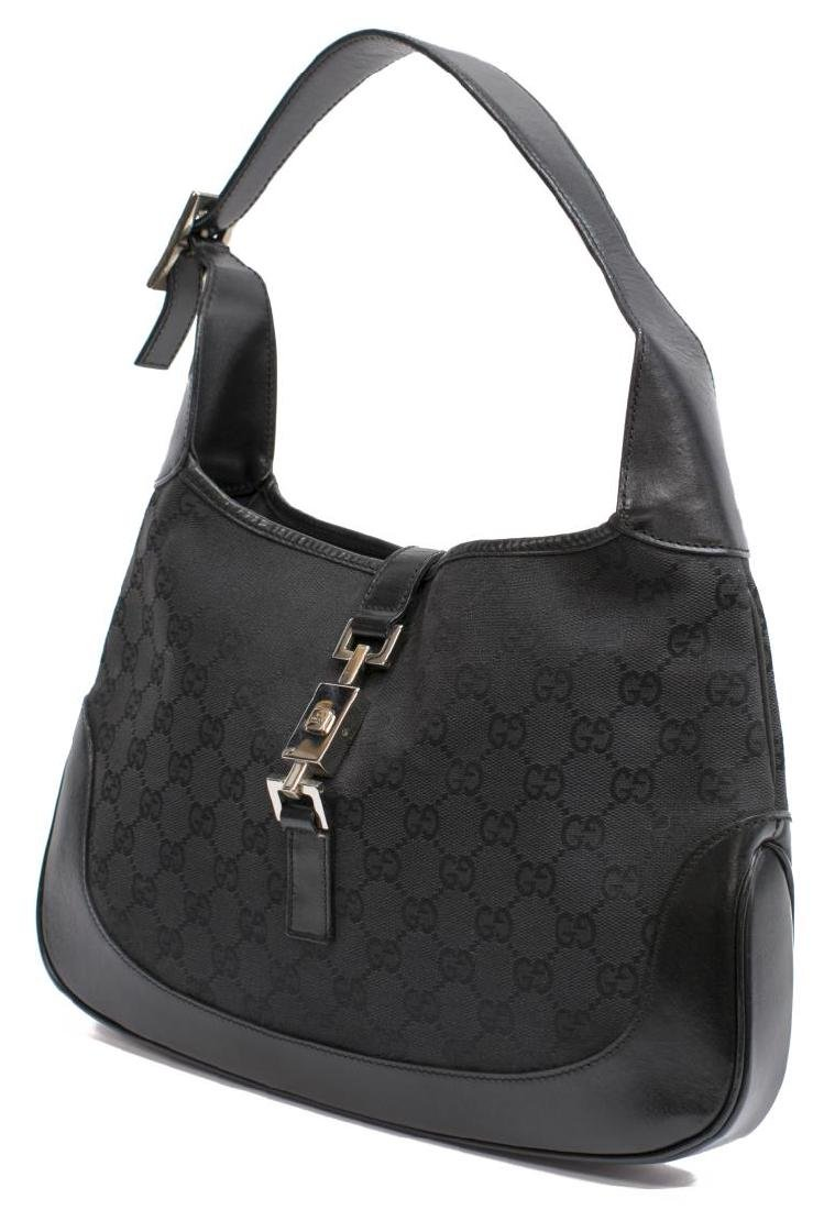 GUCCI 'JACKIE' BLACK GG CANVAS & LEATHER HOBO BAG
