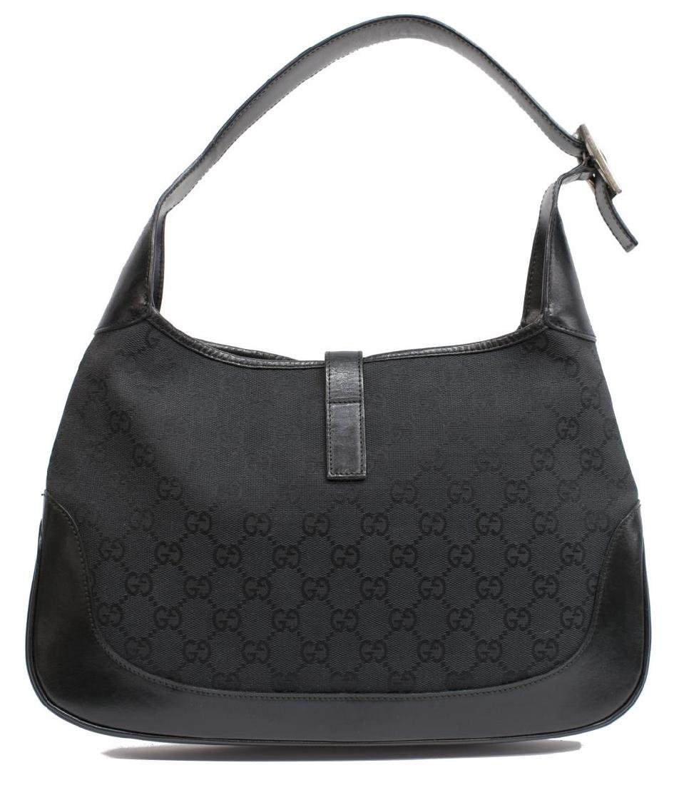 GUCCI 'JACKIE' BLACK GG CANVAS & LEATHER HOBO BAG - 2