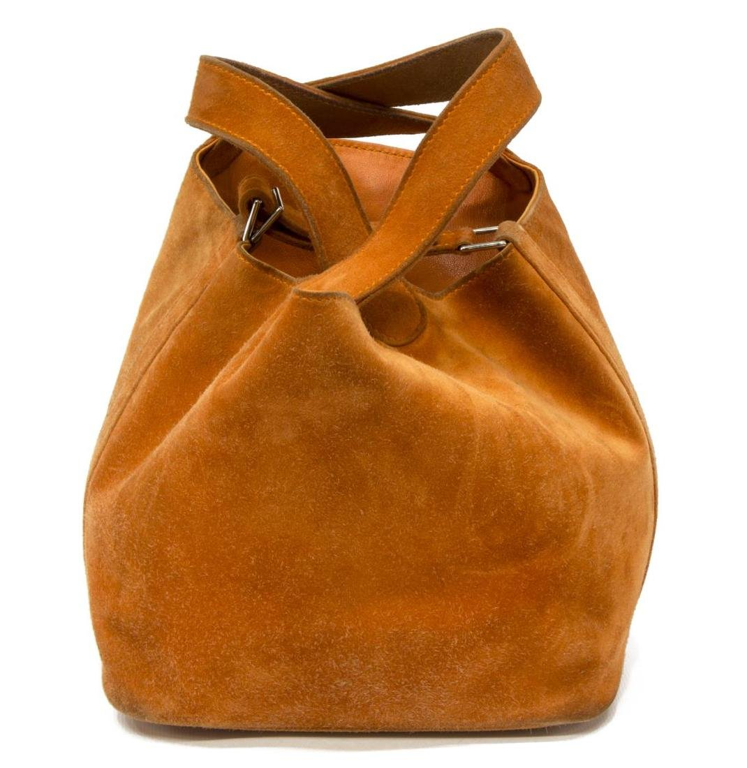 HERMES PICOTIN PM ORANGE GRIZZLY SUEDE BUCKET BAG