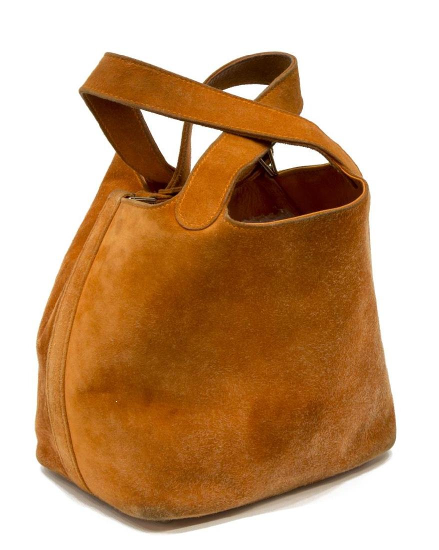 HERMES PICOTIN PM ORANGE GRIZZLY SUEDE BUCKET BAG - 2