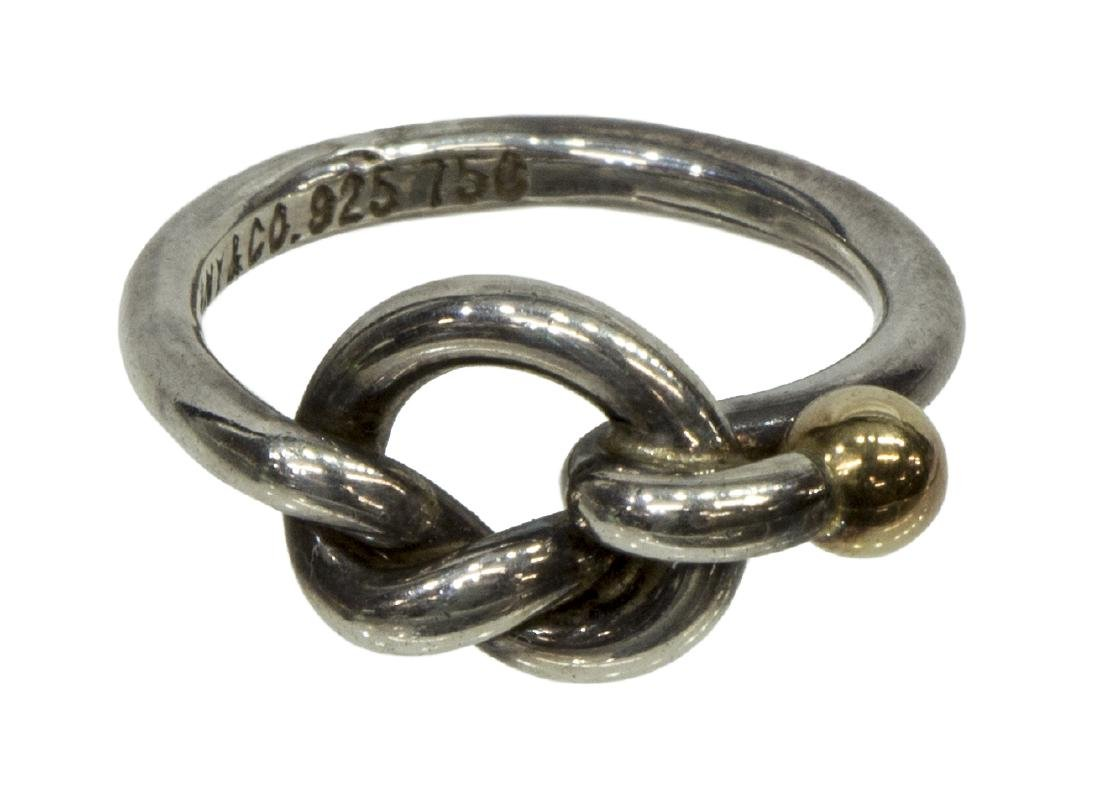 TIFFANY & CO. STERLING SILVER & 18K GOLD KNOT RING