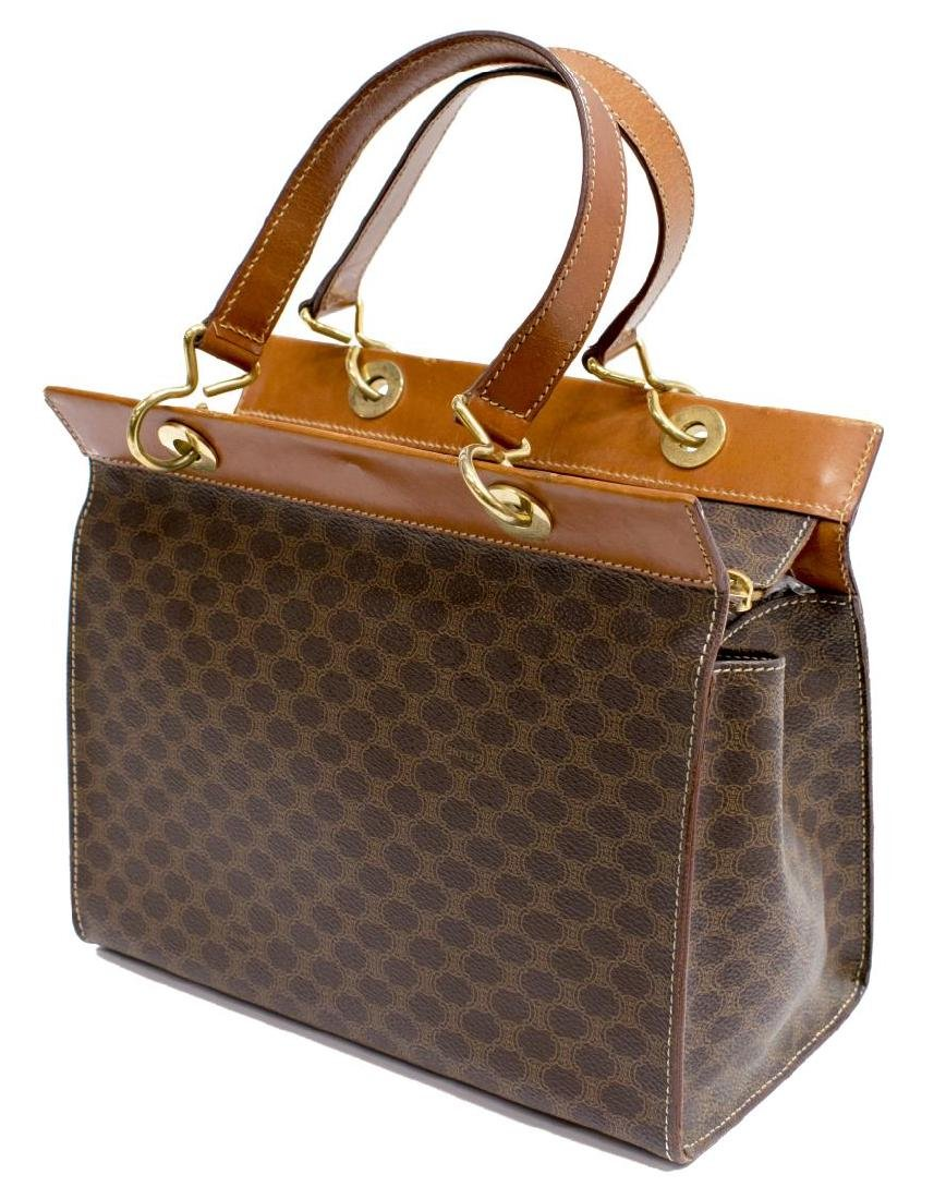 CELINE BROWN MACADAM COATED CANVAS SMALL TOTE BAG