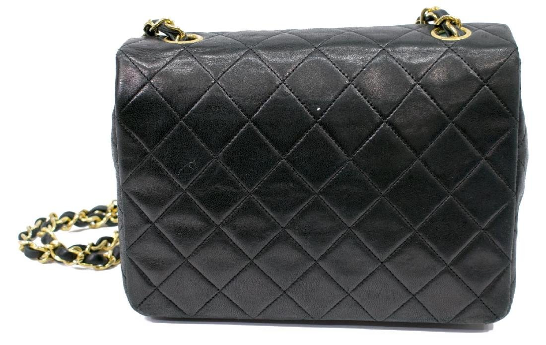 CHANEL CLASSIC NAVY LEATHER SINGLE FLAP BAG - 2