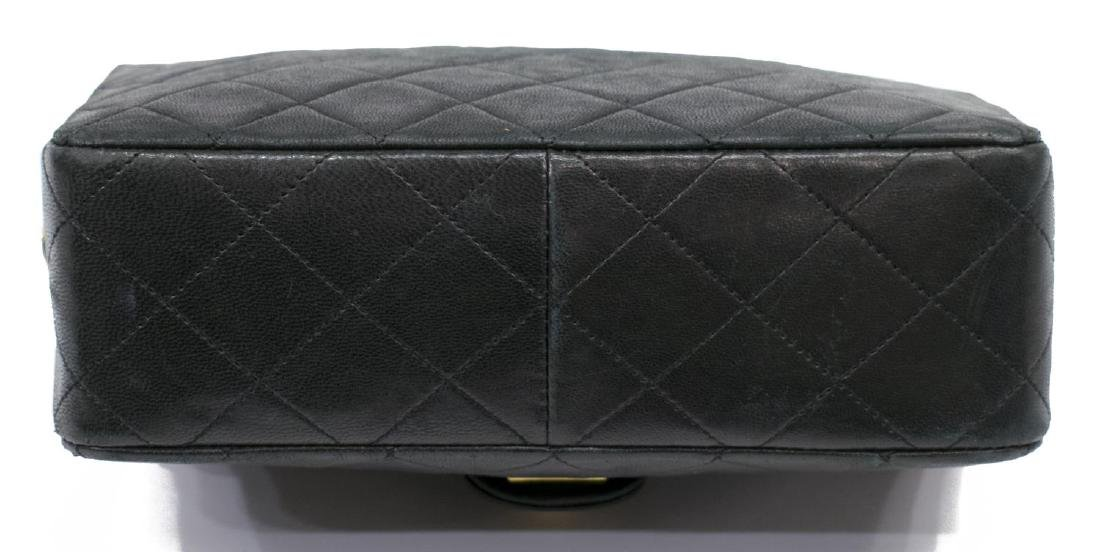 CHANEL CLASSIC NAVY LEATHER SINGLE FLAP BAG - 3
