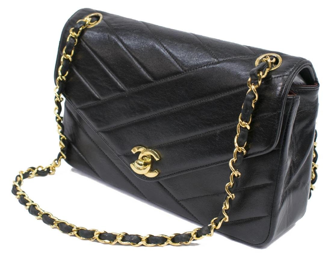 CHANEL BLACK DIAGONAL QUILTED LEATHER FLAP BAG