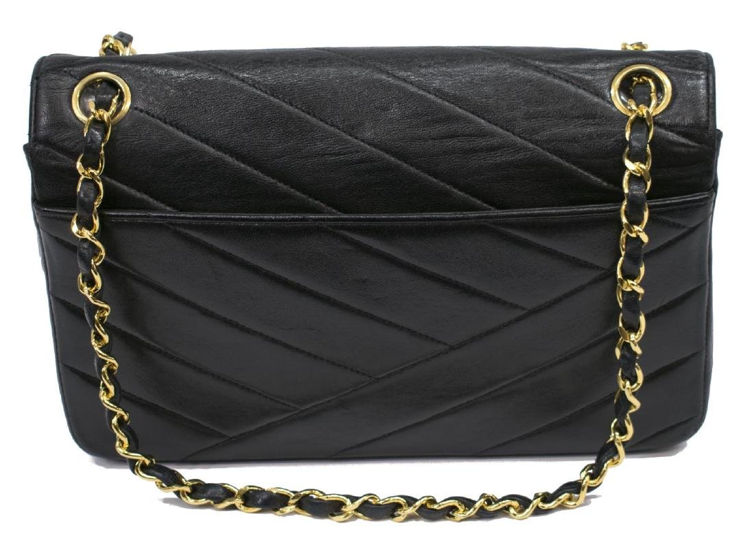CHANEL BLACK DIAGONAL QUILTED LEATHER FLAP BAG - 2