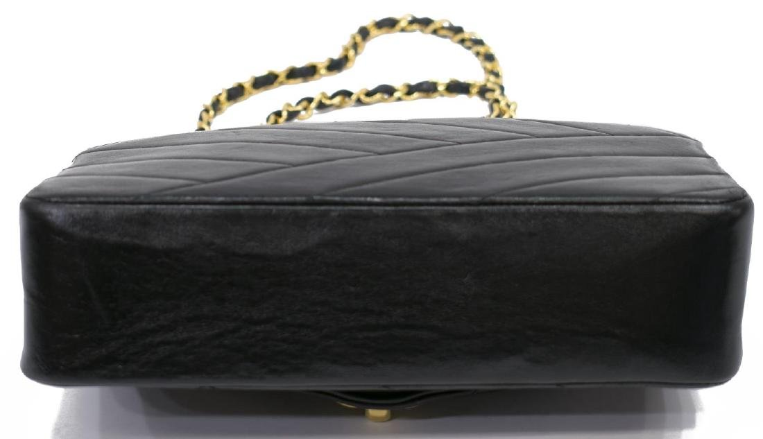 CHANEL BLACK DIAGONAL QUILTED LEATHER FLAP BAG - 3
