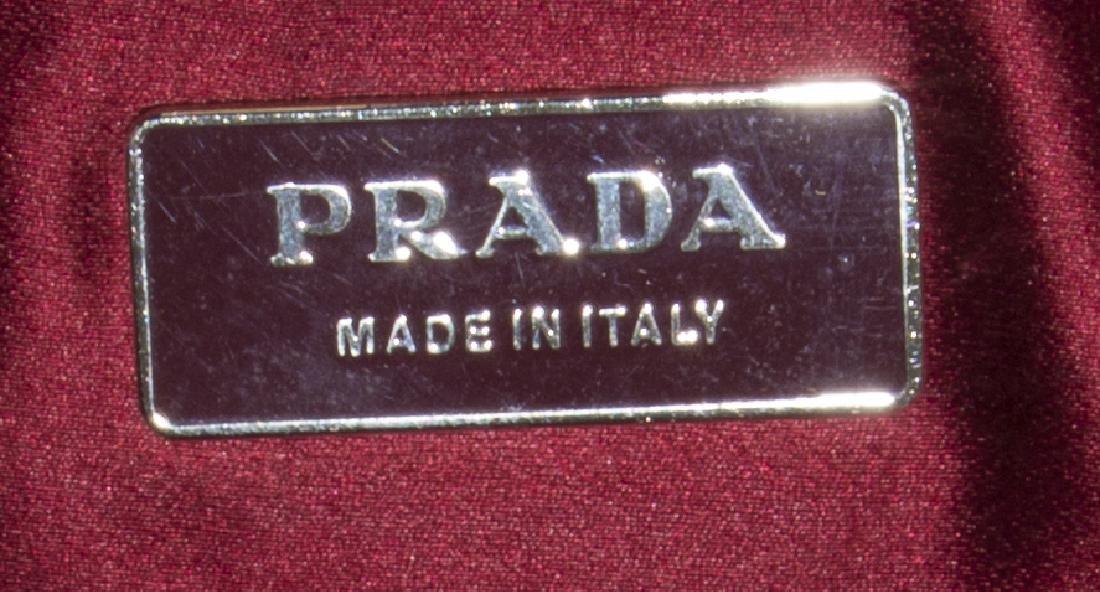 PRADA CANAPA & RED CINGHIALE LEATHER HANDBAG - 5