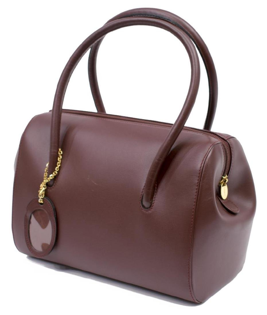 CARTIER BURGUNDY SMOOTH LEATHER BOSTON BAG