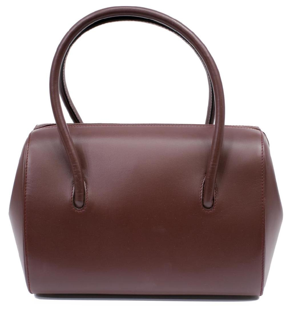 CARTIER BURGUNDY SMOOTH LEATHER BOSTON BAG - 2