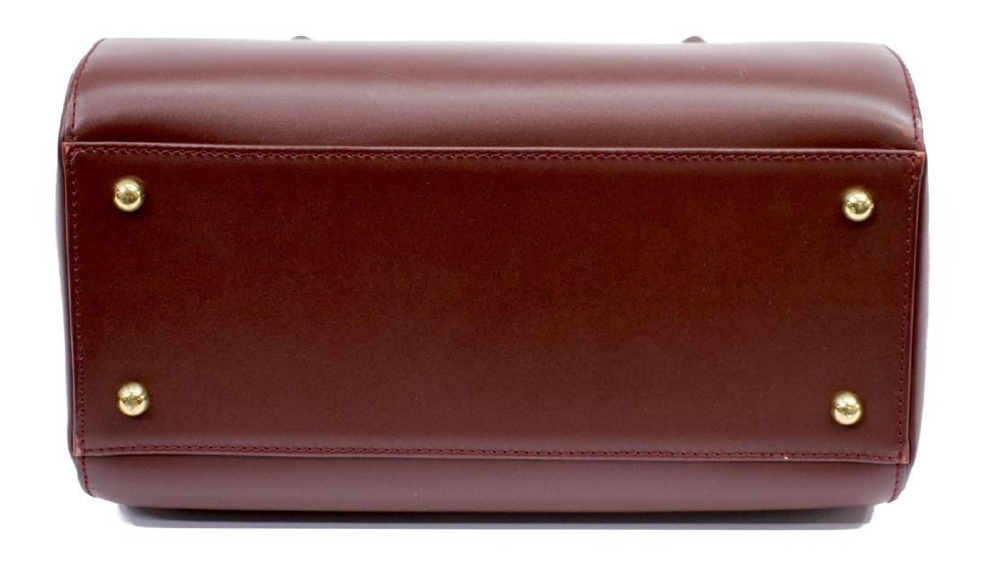 CARTIER BURGUNDY SMOOTH LEATHER BOSTON BAG - 3
