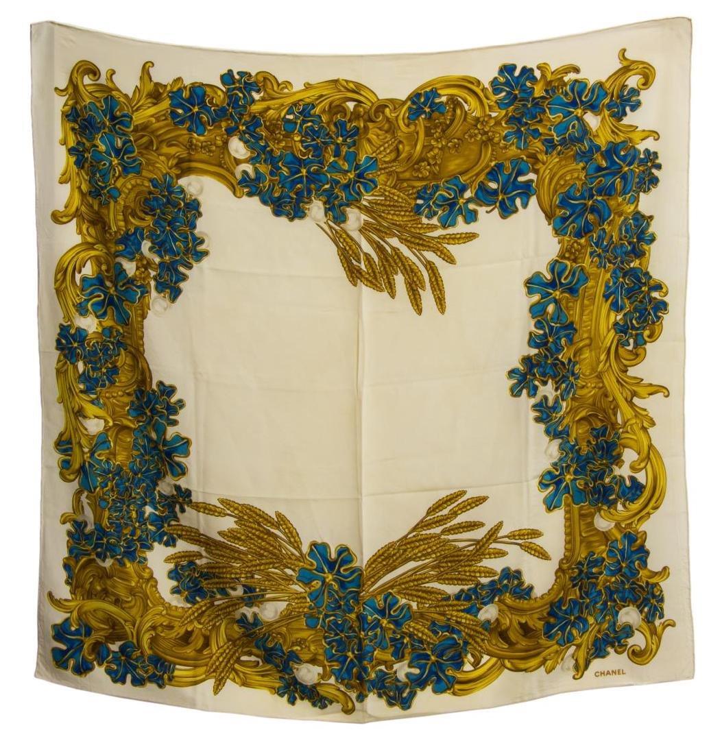 CHANEL SILK SCARF WHEAT PRINT, IVORY, GOLD & BLUE