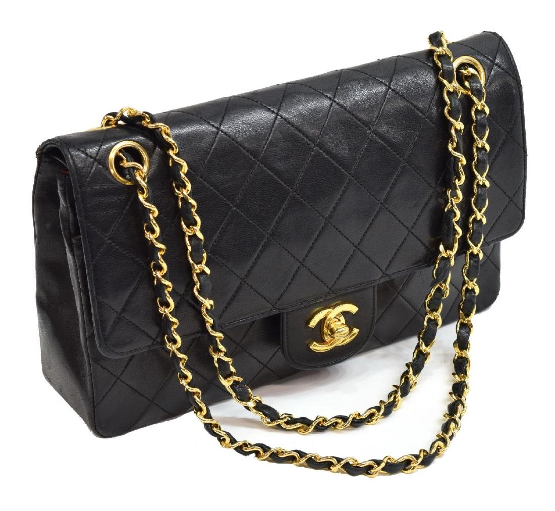 CHANEL QUILTED BLACK CLASSIC MED. DOUBLE FLAP BAG